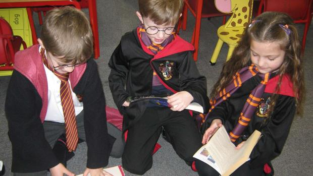 Children from the Fosse Way Academy dressed as characters from Harry Potter