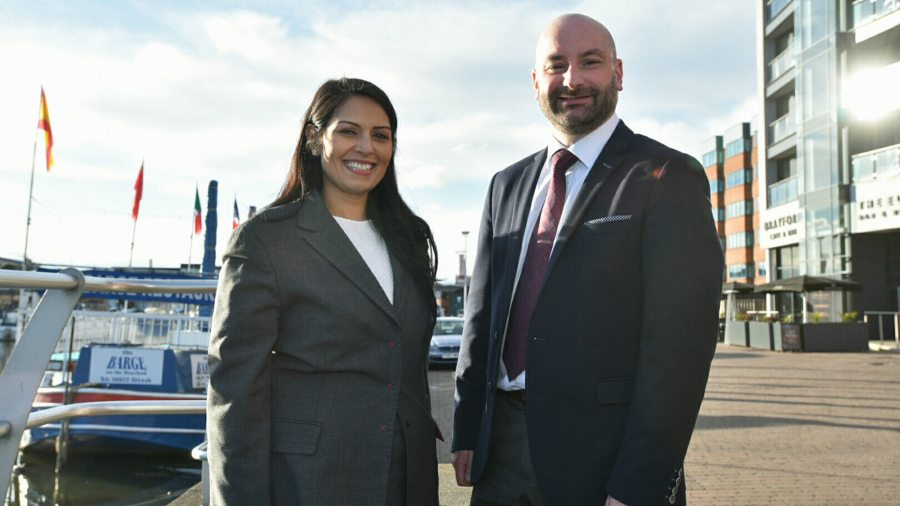Employment minister Priti Patel with Conservative Lincolnshire Police and Crime Commissioner candidate Marc Jones in Lincoln on March 4. Photo: Steve Smailes for The Lincolnite