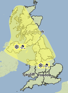A yellow weather warning, meaning 'be aware' has been issued for Wednesday morning.