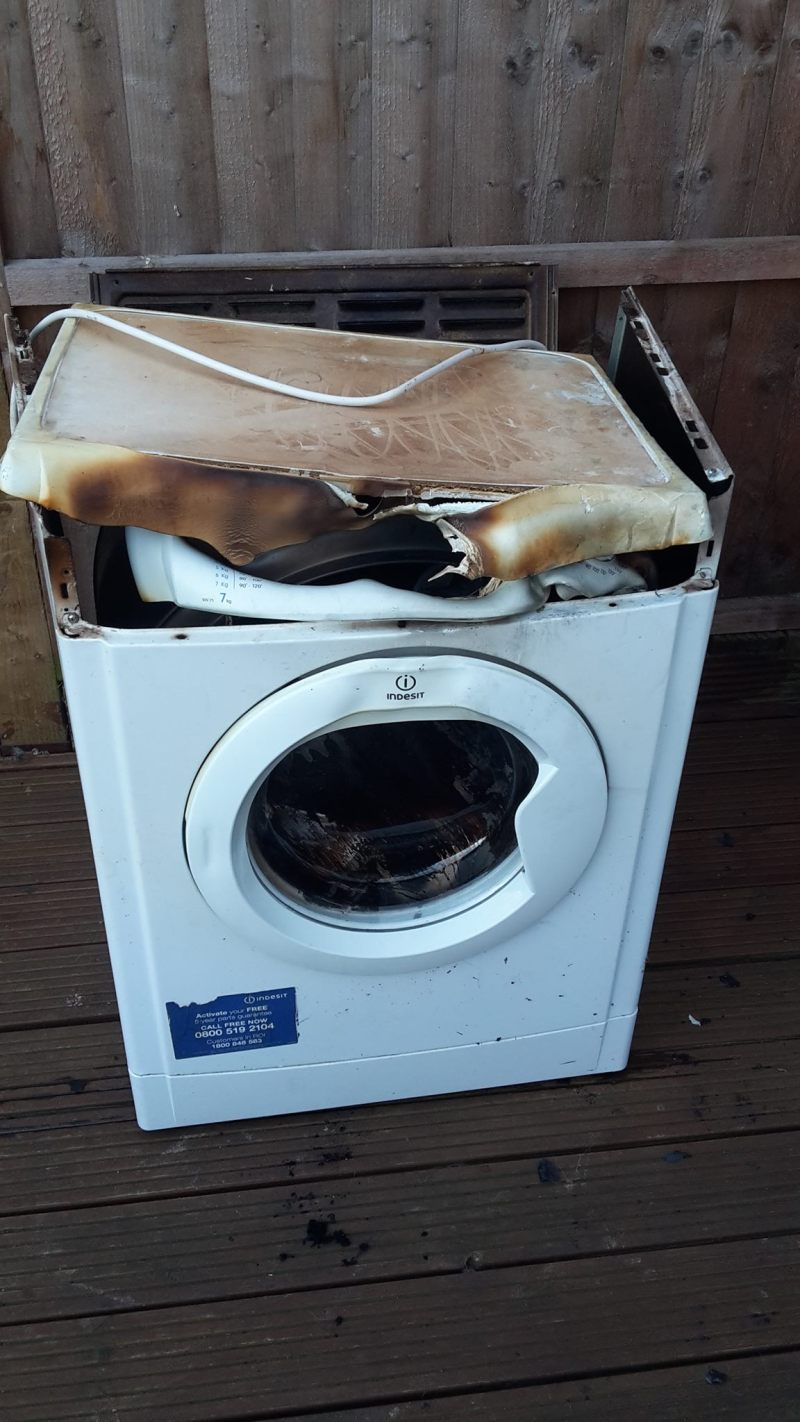 The dryer after the fire on Saturday.