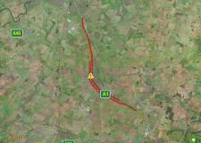 There are long delays in the area as the carriageway has been closed southbound. Image: Apple Maps