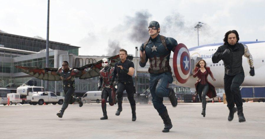 Anthony Mackie, Paul Rudd, Jeremy Renner, Chris Evans, Elizabeth Olsen and Sebastian Stan. Photo by Marvel Studios.