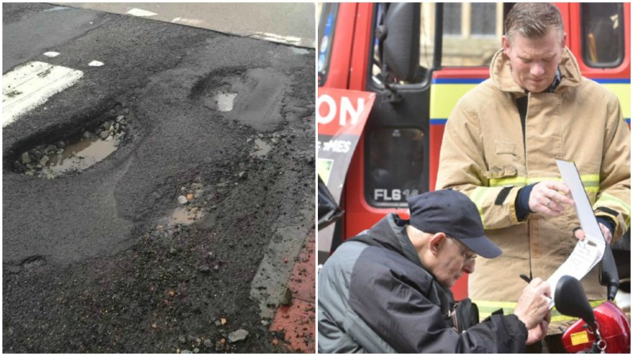 Councillors are proposing that money from the budget for pothole repairs should be reallocated to the fire and rescue service.