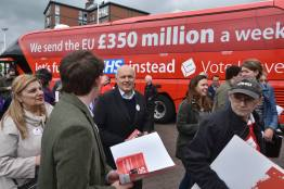 The Vote Leave campaign bus parked on Brayford Pool. Photo: Steve Smailes for The Lincolnite