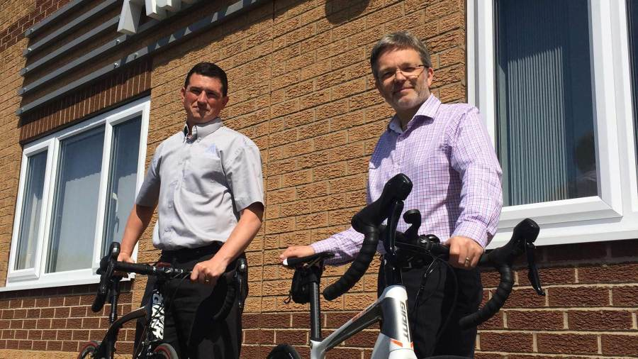 David Walker and David Allen from Allen Signs who are cycling over 190 miles from London to Paris for charity. Photo: Shooting Star