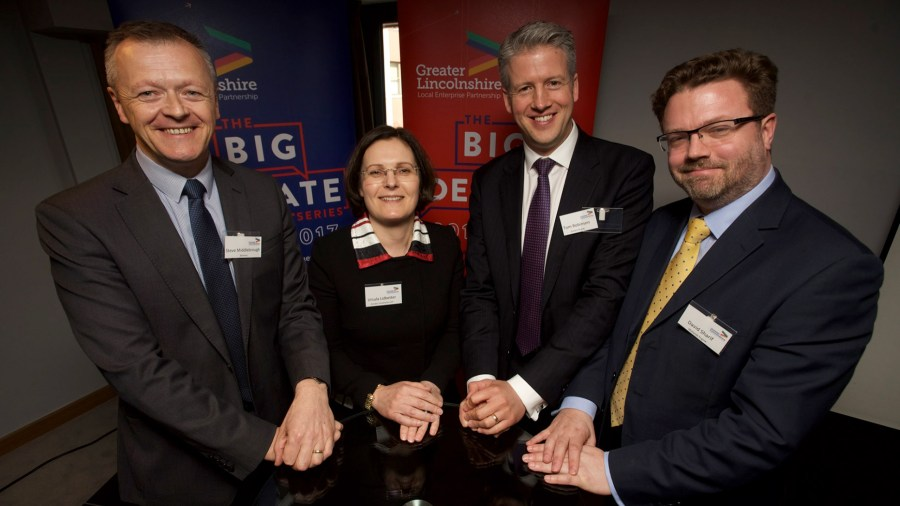 Steve Middlebrough, Head of Manufacturing for Siemens,Ursula Lidbetter, Chairperson for the GLLEP, Tom Robinson CEO of Simons Group and David Sharif, Director for the Midlands Engine.