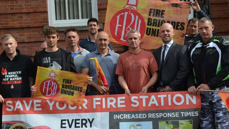 A protest against proposed changes to Lincolnshire Fire and Rescue outside County Hall. Photo: Stefan Pidluznyj for The Lincolnite