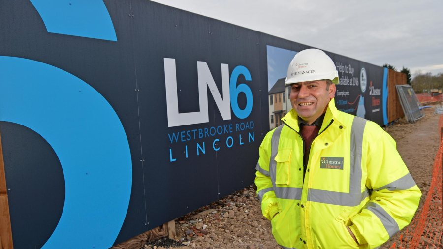 Chestnut Homes site manager Yakup Kacar at LN6, off Westbrooke Road, Lincoln