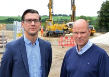 Banks Long & Co Director William Wall with Lincoln Commercial Bodies' Managing Director Simon Knaggs on site in Crofton Close.
