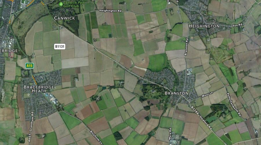 The incident happened between Canwick Road and Branston village. Map: Apple