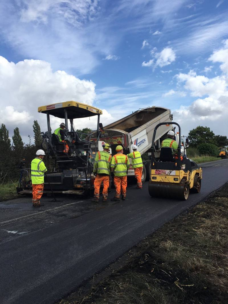 The A607 has been resurfaced following the tractor fire.