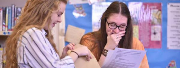 Students at Lincoln Christ's Hospital School celebrating results. Photo: Steve Smailes for The Lincolnite