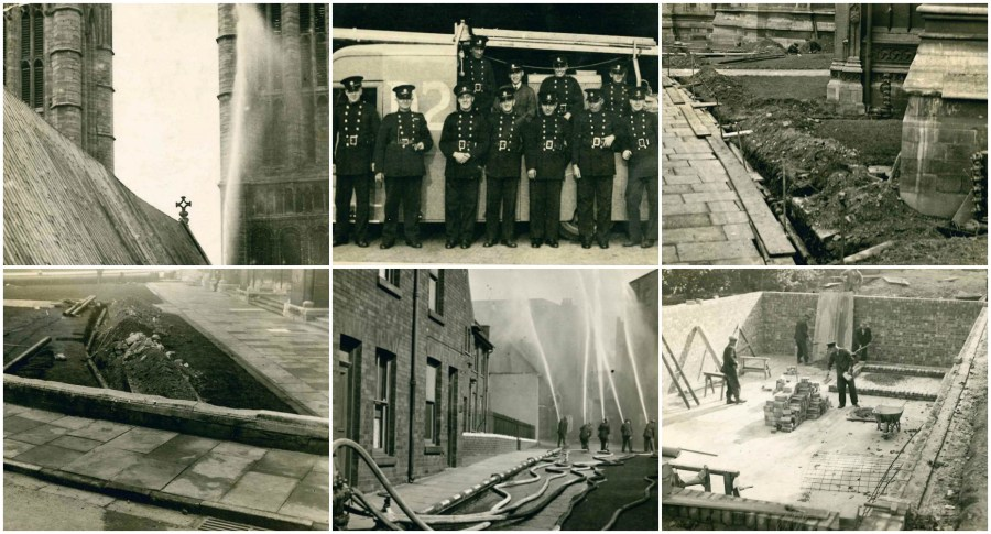 The fascinating pictures have surfaced, giving an insight into Lincoln Cathedral works during WW2.