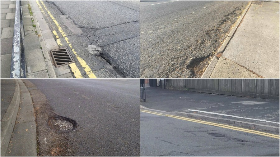 Readers have been sending in their pictures of potholes  appearing and reappearing across Lincoln