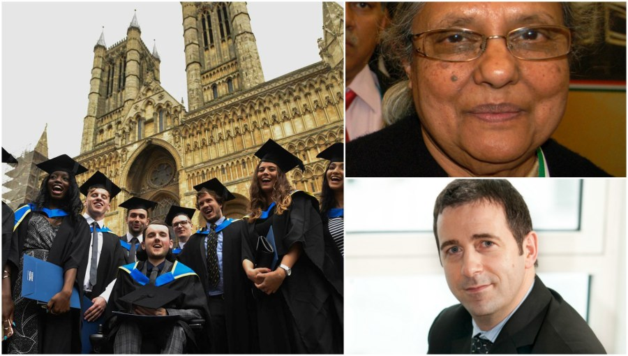 Ela Gandhi (top right) and Juergen Maier (bottom right) are among those receiving honours at the 2016 graduation ceremony.