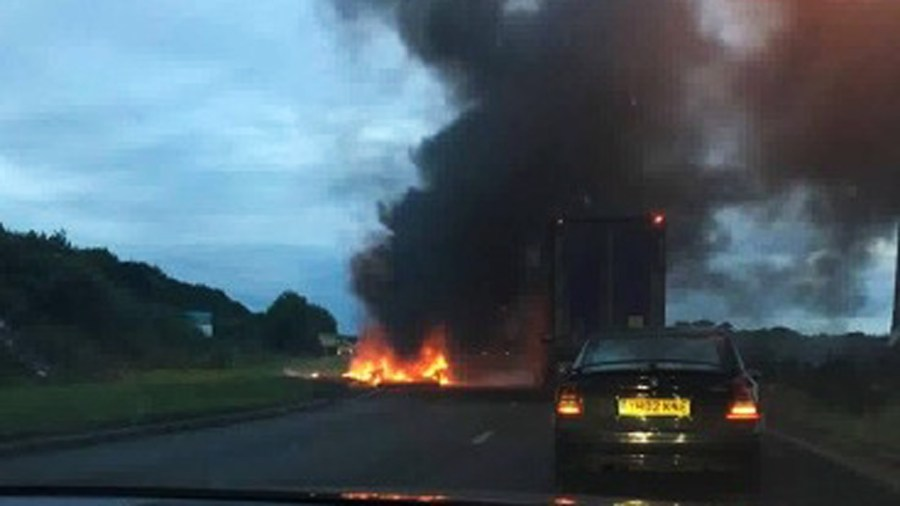 The caravan fire has closed a section of the A46 during rush hour.