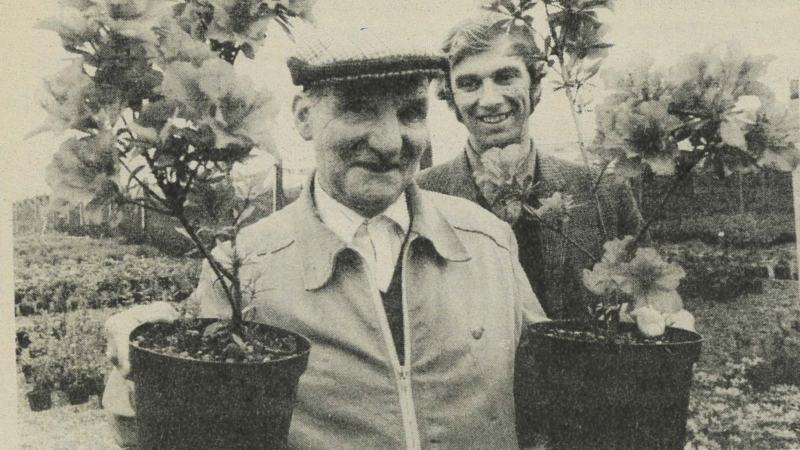 Fred Smith, Trevor's father, worked for the company for 51 years. The family's name was continued at the company by Trevor (pictured behind). Photo taken by the Lincs Chronicle in 1984, marking Fred's retirement.
