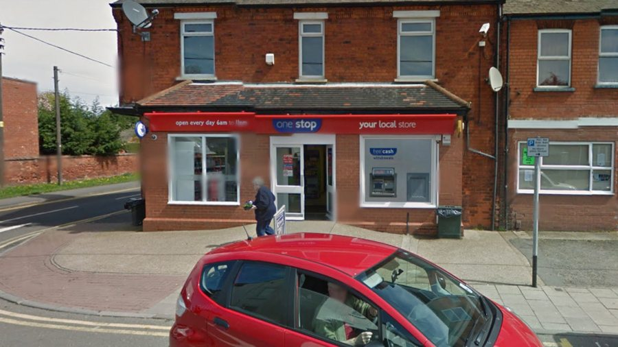 Two men smashed the window of the One Stop Shop in Saxilby. Photo: Google Street View