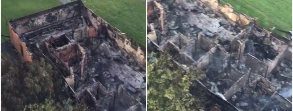 Aerial shots taken on the morning after the blaze reveal the extent of the damage.  Photo: Gainsborough fire crews
