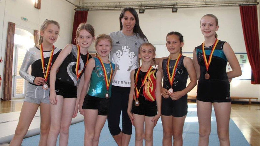 Olympic gymnast Beth Tweedle with some of the pupils from Ingham Primary School
