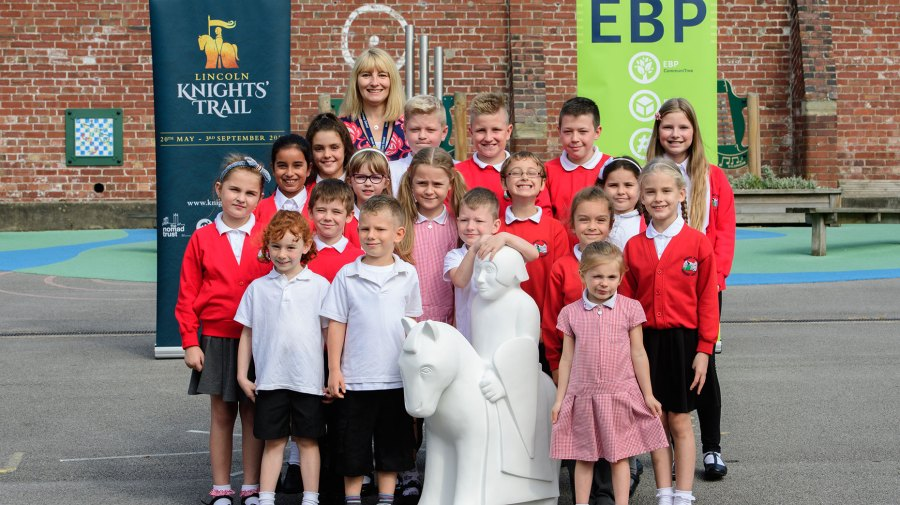 Children at Monks Abbey Primary School met one of the first miniature knights ahead of the programme launch.
