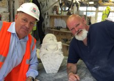 Stan, pictured here in a hard hat, was honoured for his years working on Lincoln Cathedral.