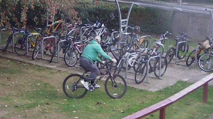 The man was seen stealing a bike from the school grounds in Cherry Willingham. Photo: Lincolnshire Police