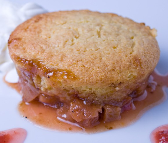 Rhubarb upside down cake serving Fresh Rhubarb Roundup  