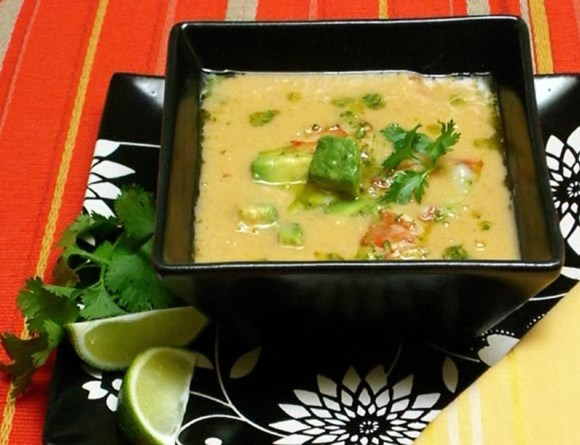Corn and Chipotle Soup Fresh Corn & Chipotle Soup with Prawn, Avocado, & Lime Escabeche