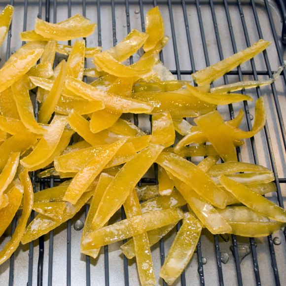 Lemon peels after boiling Candied Lemon Peel