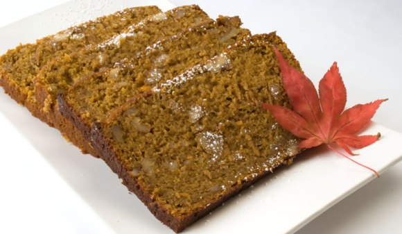 Pumpkin bread with maple leaf Pumpkin, Spice & Everything Nice Tea Bread