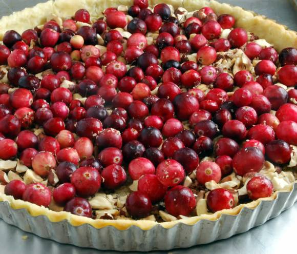 Without caramel Hazelnut Honey Toffee Tart with Cranberry Variation