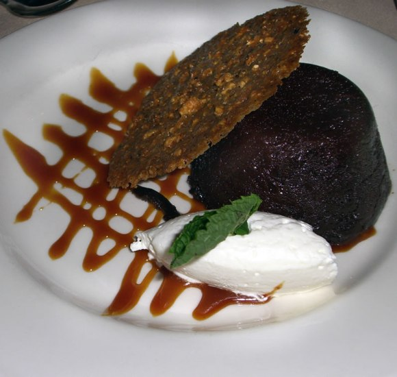 Lucy's Table Boca Negra: Moist, Warm Flourless Chocolate Cake with Whipped Cream and Florentine