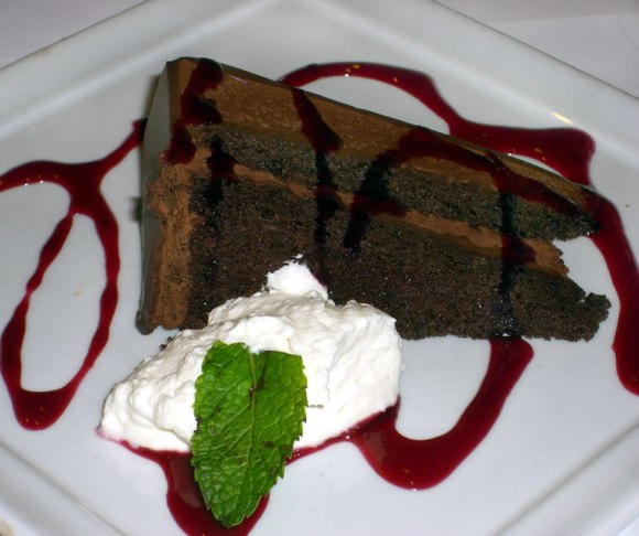 Chocolate Grappa Cake with Black Currant Sauce Seattle Serafina Eat. Northwest. Chocolate Desserts