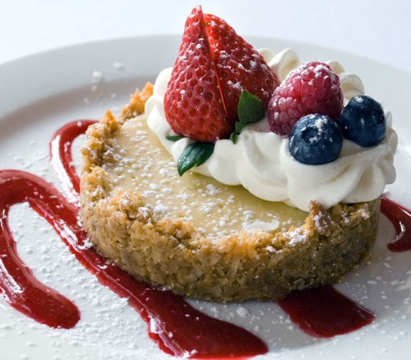 Arcadia Farms Key Lime Tart with Coconut Almond Crust & Raspberry Sauce