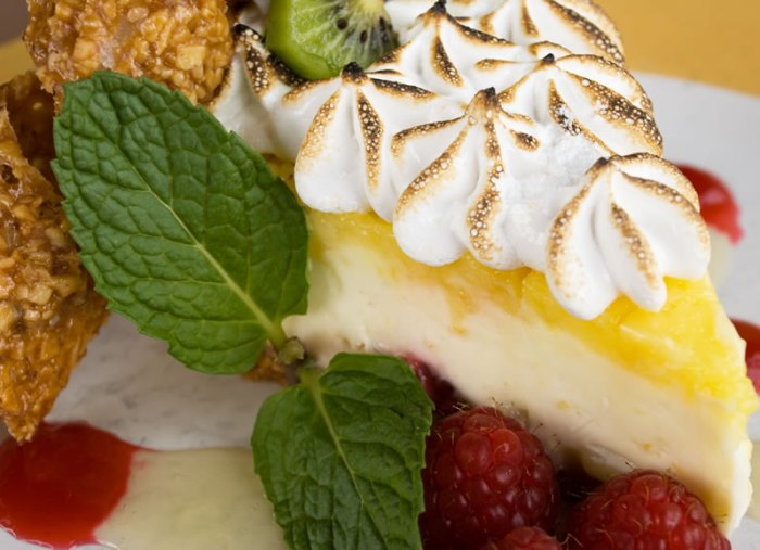 Tonto Lemon-Lime Sour Cream Meringue Pie with Raspberries & Kiwi in an Almond Crust