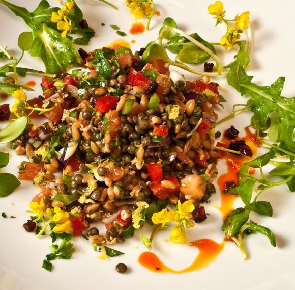 Salad seving Northwest Early Spring Farro & Lentil Salad