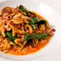 Spaetzel, Wild Mushrooms & Broccoli Raab with Thai Yellow Curry Sauce