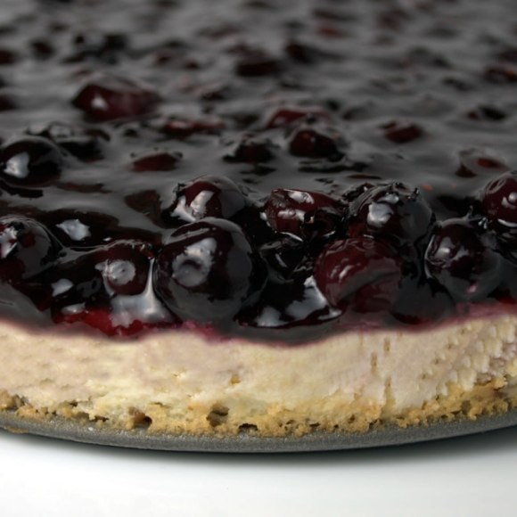 Closeup of Whole Blueberry Cheesecake 2 Blueberry, Lime & Rose Petal Cheesecake