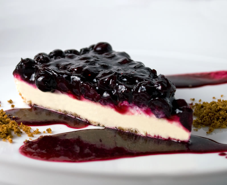 Slice of Blueberry, Lime & Rose Petal Cheesecake