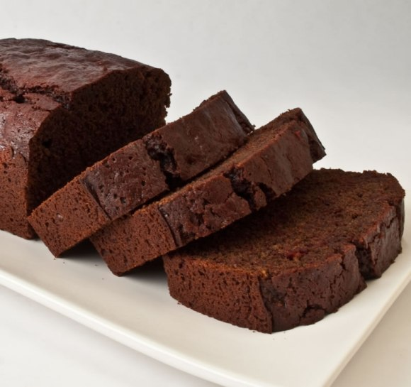 Sliced chocolate beet cake Heavenly Chocolate Beet Tea Loaf