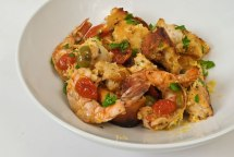 Grilled Prawn, Roasted Baby Tomato & Chipotle Bread Salad
