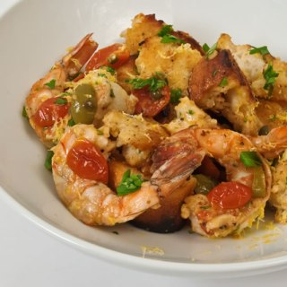 Grilled Prawn, Roasted Baby Tomato & Chipotle Mustard Bread Salad