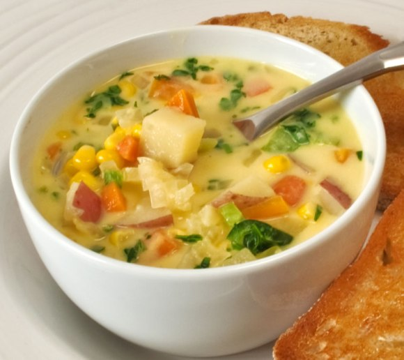 Soup spoon and topast Sweet Corn & Poblano Chile Chowder