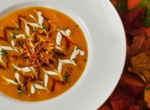 Warm Spiced Red Kuri Squash & Orange Soup with Cinnamon Harissa
