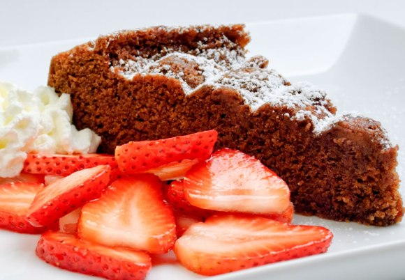 Slice with berries Chocolate Almond Pound Cake