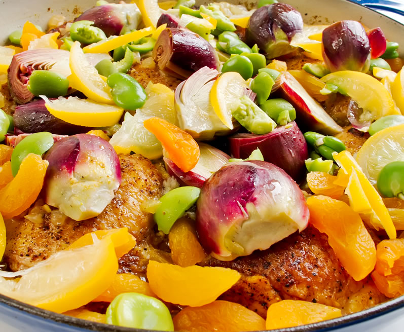 Chicken Tagine with Baby Artichokes, Green Olives, Apricots & Preserved Lemon