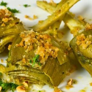 Lemon & Thyme Marinated Artichokes with Garlic Bread Crumbs & Toasted Hazelnuts
