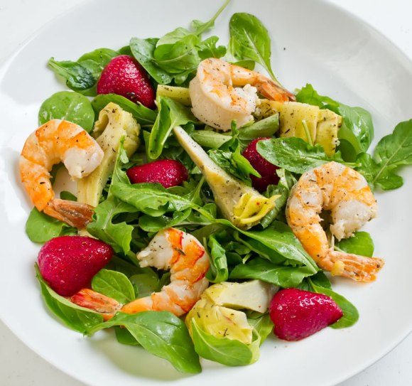 Shrimp salad 1 Lemon & Thyme Marinated Artichoke, Tiger Prawn & Strawberry Salad