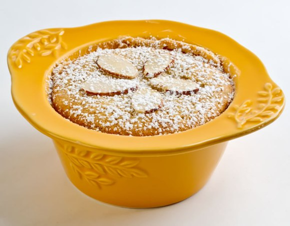 Almond Yogurt Cake in 6 ounce Baking Dish Heavenly Almond Yogurt Cake with Fresh Strawberries, Strawberry Caramel Sauce & Basil Sauce